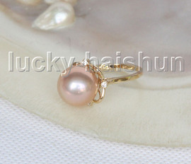 NEW AAA natural 12mm round golden South Sea pearls Rings 14K 7# j11601