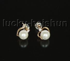 AAA+ 100% round heart-shaped natural white AKOYA sea salt water pearls Earrings 14K solid gold Stud j11602
