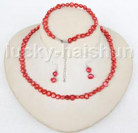 "adjustable 17-19"" Baroque red pearls necklace bracelet Earrings set j11612"