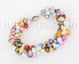 "stylish 8"" Baroque Multi-color pearls bracelet magnet clasp j11624"