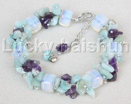 "adjustable 7.5""-10"" baroque moonstone amethyst jade bracelet j11642"