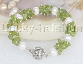 "Genuine 8"" baroque olivine white pearls bracelet magnet clasp j11643"