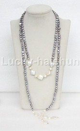 """length 54"""" 8mm Baroque gray white pearls freshwater necklace j11659"""