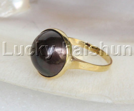 NEW AAA rare 15mm black South Sea Mabe Pearls Rings 14K gold 7# j11673
