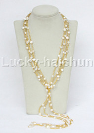 """length Genuine 64"""" Baroque 2piece white freshwater Pearls Necklace j11678"""