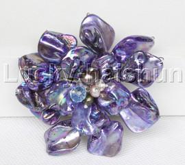 "3"" baroque Flower purple seashell pearls crystal Brooch j11682"