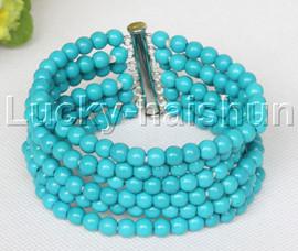 "Genuine 8"" 6row 6mm round blue turquoise bracelet magnet clasp j11687"