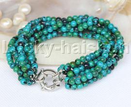 "Genuine 8"" 8row 4mm round green chrysocolla bracelet j11698"