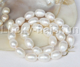 """Genuine huge 17.5"""" baroque rice 15mm white pearls necklace 925 silver clasp j11709"""