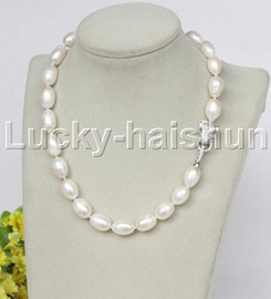 "natural huge 17"" baroque rice 15mm white pearls necklace leopard clasp j11712"