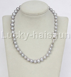 """natural 17"""" 10mm near round gray freshwater pearls necklace leopard clasp j11716"""