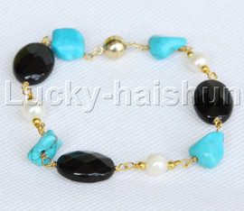 """natural baroque 8"""" white pearl turquoise agate Bracelet j11752"""
