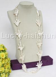 """HUGE Baroque 33"""" 49mm thenar form white Reborn keshi pearls necklace j11779"""