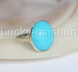 AAA Genuine coin fastener 21mm blue turquoise Rings 925 silver 8# j11794