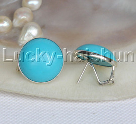 AAA Genuine coin fastener 21mm blue turquoise Earrings 925 silver 8# j11795
