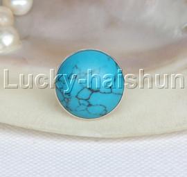AAA wonderful 21mm blue turquoise Rings 925 silver 8# j11796