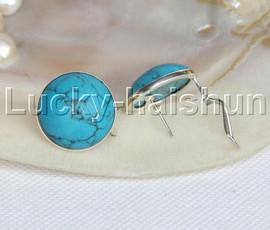 AAA wonderful 21mm blue turquoise Earrings 925 silver j11797