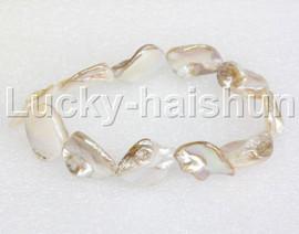 """springy 8"""" Baroque white shell bracelet j11818"""
