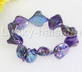 "springy 8"" Baroque purple shell bracelet j11824"