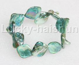 "springy 8"" Baroque green shell bracelet j11826"