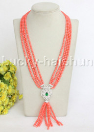 """Genuine 4Row 21""""-24"""" round pink coral necklace pendant j11828"""