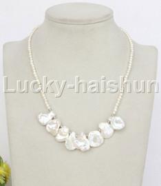 "adjustable 16-18"" white Reborn keshi pearls necklace 18KGP clasp j11834"