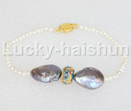 """8.5"""" white gray pearls bracelet gold plated clasp j11836"""