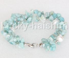 "Genuine Baroque aquamarine white pearls bracelet 8"" j11848"
