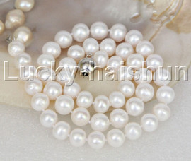 """natural 17"""" 10mm round white freshwater pearls necklace 18KGP j11849"""