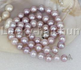 "natural 17"" 10mm round purple lavender pearls necklace 18KGP j11850"
