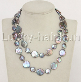 """length 32"""" 11mm 16mm Baroque coin fastener black freshwater pearls necklace j11864"""