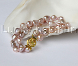 """natural 8"""" 11mm Baroque purple pearls bracelet gold plated clasp j11873"""