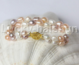 """natural 8"""" 11mm Baroque Multicolor pearls bracelet gold plated clasp j11874"""