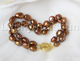 """natural 8"""" 11mm Baroque coffee pearls bracelet gold plated clasp j11875"""