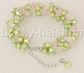 "Genuine adjustable 7""-9"" Baroque green pearls Rose Quartz bracelet j11876"