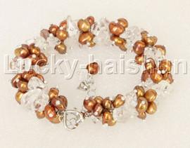 "Genuine adjustable 7""-9"" Baroque coffee pearls White Crystal bracelet j11877"