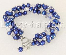 "Genuine adjustable 7""-9"" Baroque navy blue pearls White Crystal bracelet j11878"