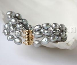 "natural 8"" 11mm 3row Baroque gray pearls bracelet 14K/20 clasp j11884"