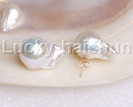 LUSTER 21MM BAROQUE WHITE SOUTH SEA PEARL EARRING 14K SOLID GOLD STUD J11886