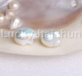 LUSTER 19MM BAROQUE WHITE SOUTH SEA PEARL EARRING 14K SOLID GOLD STUD J11889