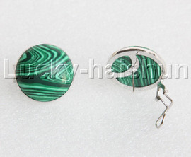 AAA 100% NATURAL 25MM COIN fastener malachite Earrings 925 silver j11891