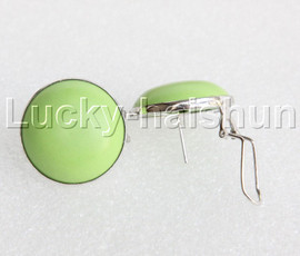 AAA 100% NATURAL 25MM COIN fastener green turquoise Earrings 925 silver j11892