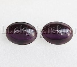 AAA 100% NATURAL 22*30MM oval purple Opal cat eyes Earrings 925 silver j11895