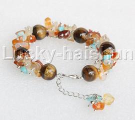 "Genuine Baroque carnelian Tiger's eyes bracelet 7-9"" j11922"