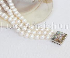 "natural 8"" 8mm round white freshwater pearl bracelet j11964"