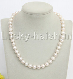 """natural 17"""" 10mm round white freshwater pearl necklace j11968"""