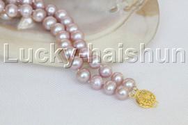 "natural 8"" 10mm round purple freshwater pearl bracelet j11969"
