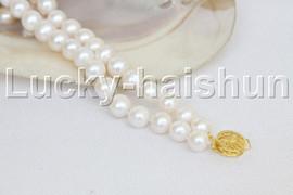 "natural 8"" 10mm round white freshwater pearl bracelet j11972"