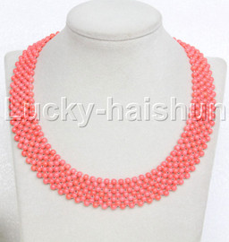"Genuine handmade 17"" round pink coral bead Choker necklace j11981"