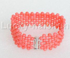 "Genuine handmade 7"" round pink coral bead Choker bracelet j11982"